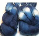 Mérinos bio teintée indigo en cuve de fermentation effet tie and dye